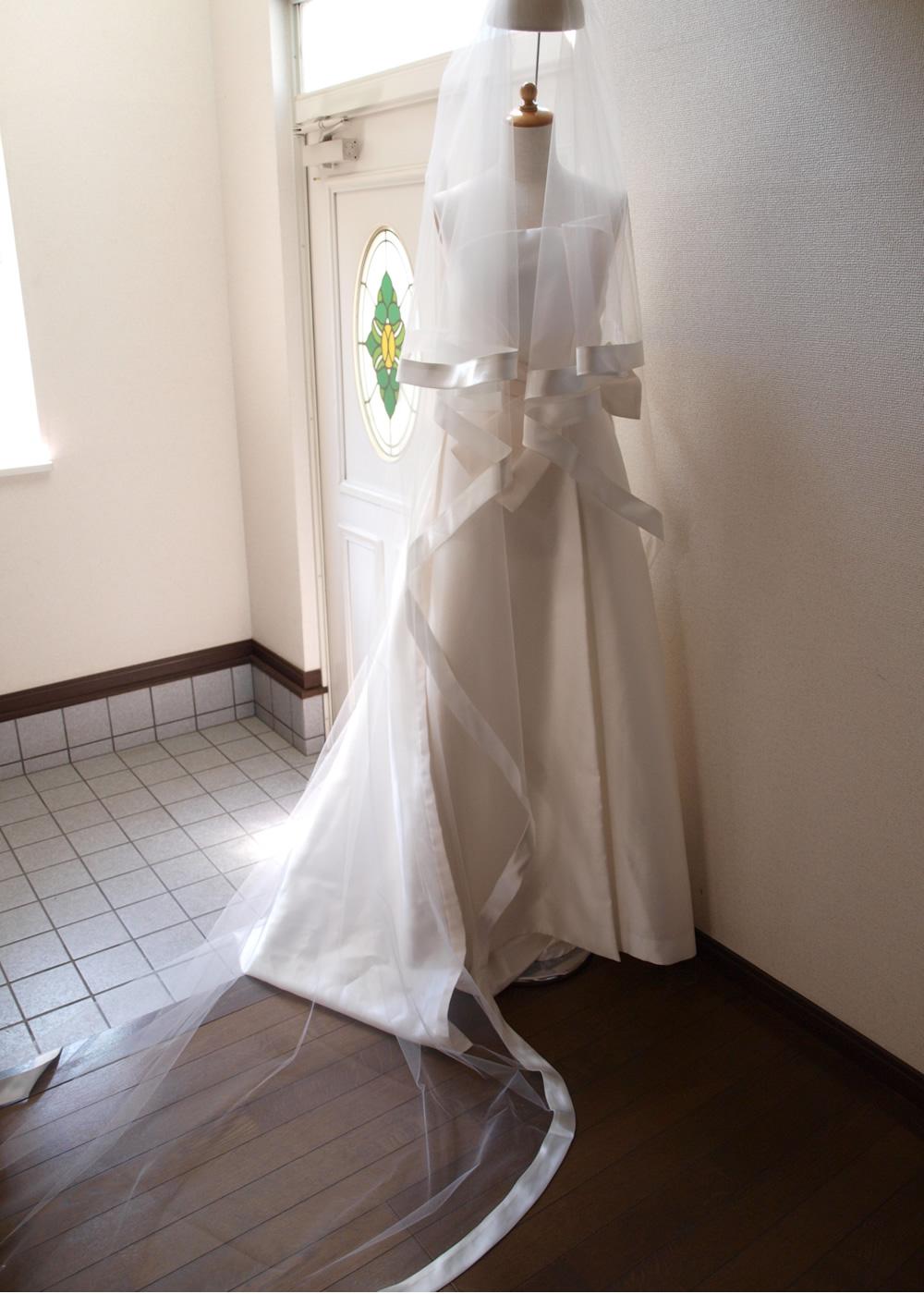 太巾サテンパイピングのロングベール