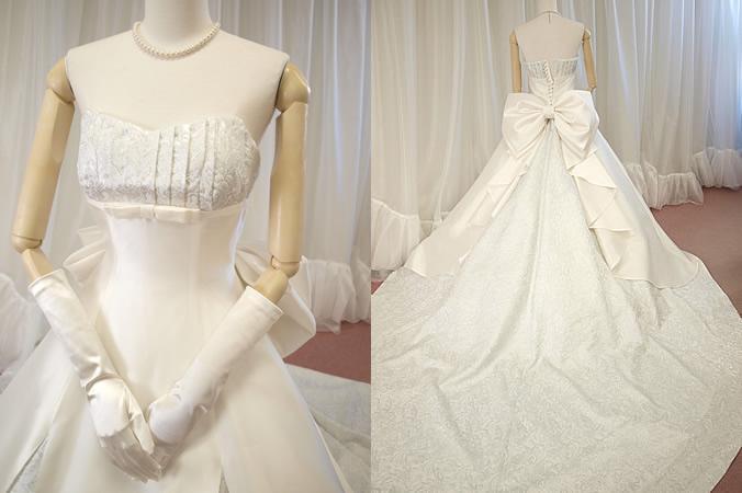 Aライン シルクウェディングドレス